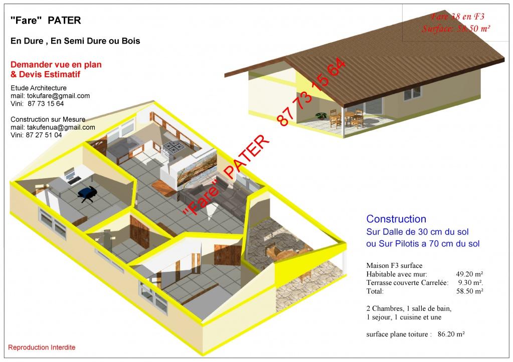 Vend kit maison en dure f3 petites annonces tahiti for Maison en kit cle en main