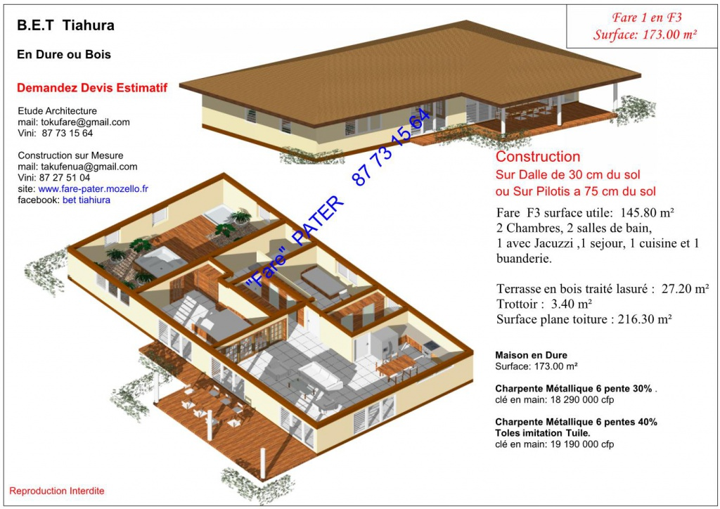 Constructeur vend maison petites annonces tahiti infos for Constructeur maison individuelle tahiti