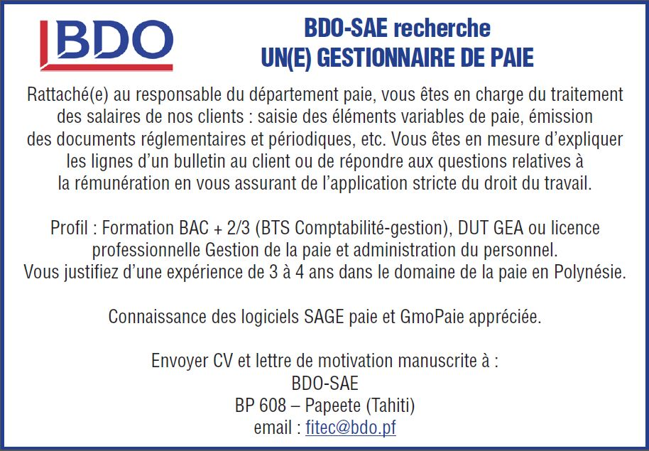 Petites Annonces Ref 231938 Bdo Sae Recherche Un E