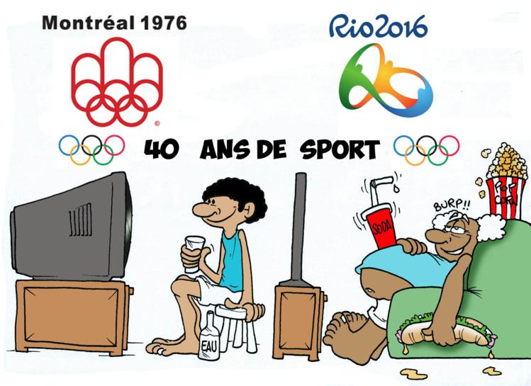 """ Les J.O, 40 ans de sport "" par Munoz"