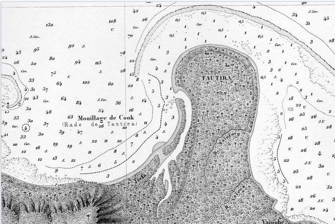 1 La presqu'île de Tautira en 1875. Dépôt des Cartes et Plans de la Marine 1881