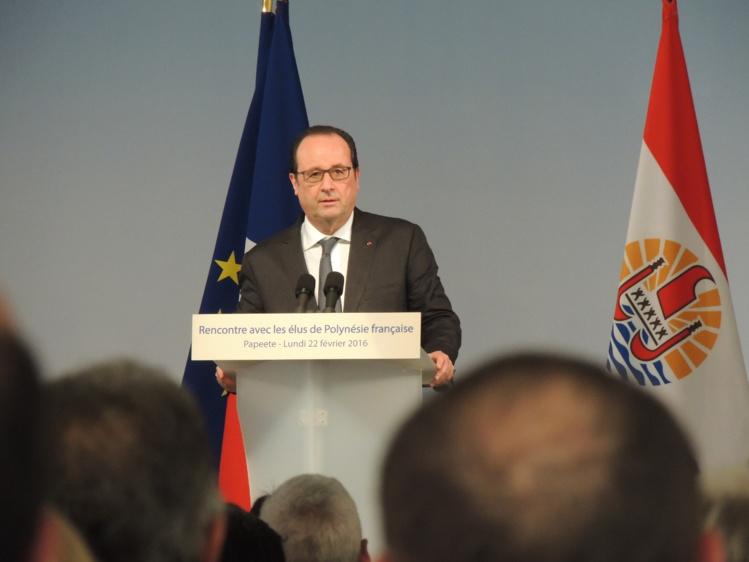 François Hollande, à Papeete le 22 février dernier, lors de son allocution devant les élus polynésiens.