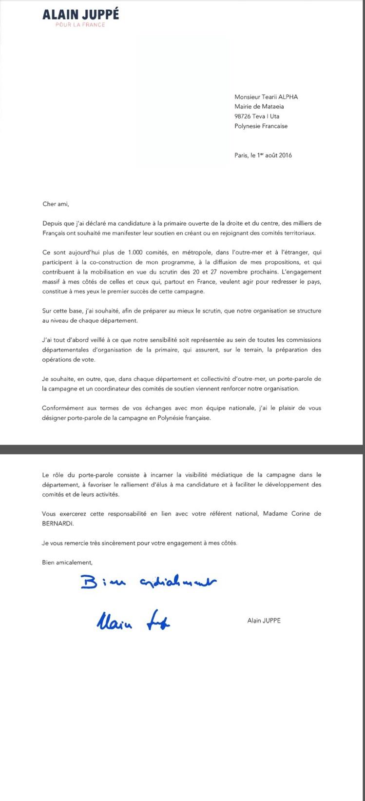 Alain Juppé désigne Tearii Alpha comme l'unique porte-parole de sa campagne