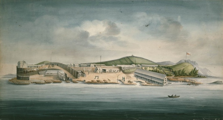 La station pénale de Macquarie Harbour, sur Sarah Island, peinte par un prisonnier, William Buelow Gould. Le centre pénitentiaire ne fonctionna que de 1822 à 1833.