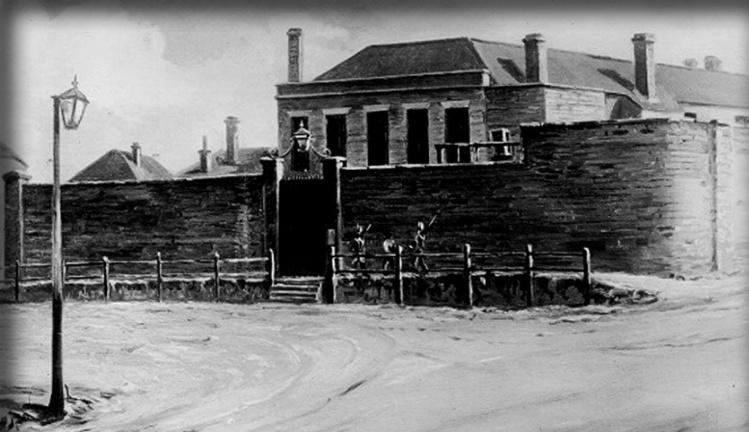 """La prison d'Hobart, où fut exécuté Pearce : la petite histoire dit que ses dernières paroles furent les suivantes : """"La chair humaine est délicieuse. Elle a un goût bien meilleur que le poisson ou le porc""""."""