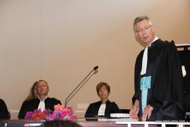 Le procureur de la République Hervé Leroy lors de son discours d'installation, vendredi, au palais de justice de Papeete.