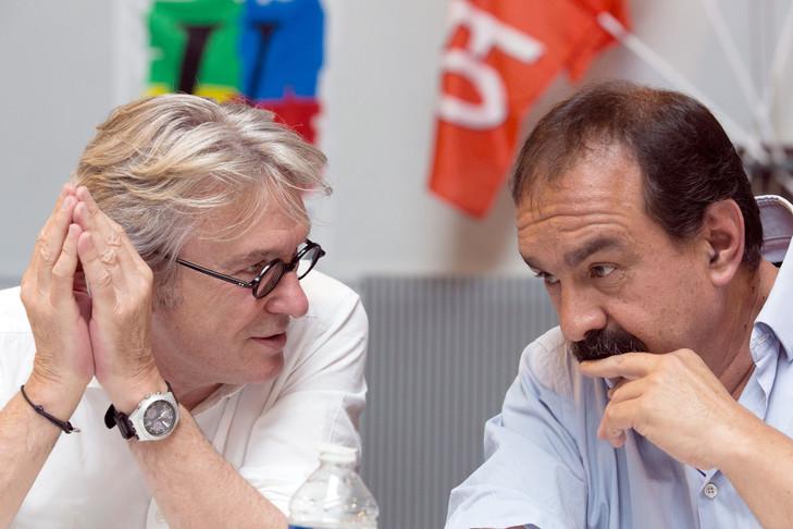 Jean-Claude Mailly de FO et Philippe Martinez de la CGT (Gymnase Japy à Paris le 6 juillet 2016 - Geoffroy Van der Hasselt/AFP)
