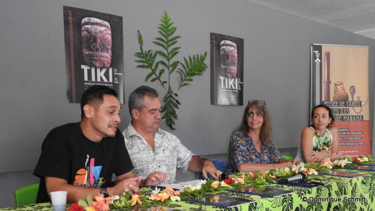 De gauche à droite : Tara Hiquily, commissaire de l'exposition, Heremoana Maamaatuaiahutapu, ministre de la Culture, Christel Vieille-Ramseyer, commissaire de l'exposition, et Théano Jaillet, directrice du Musée de Tahiti et des îles.