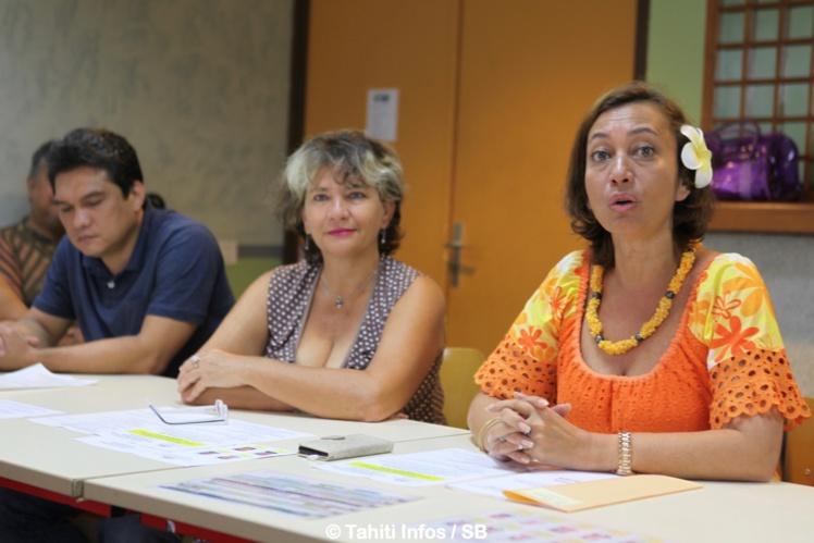 Nicole Sanquer, ministre des sports et Mae Lhopital, directrice del'IJSPF