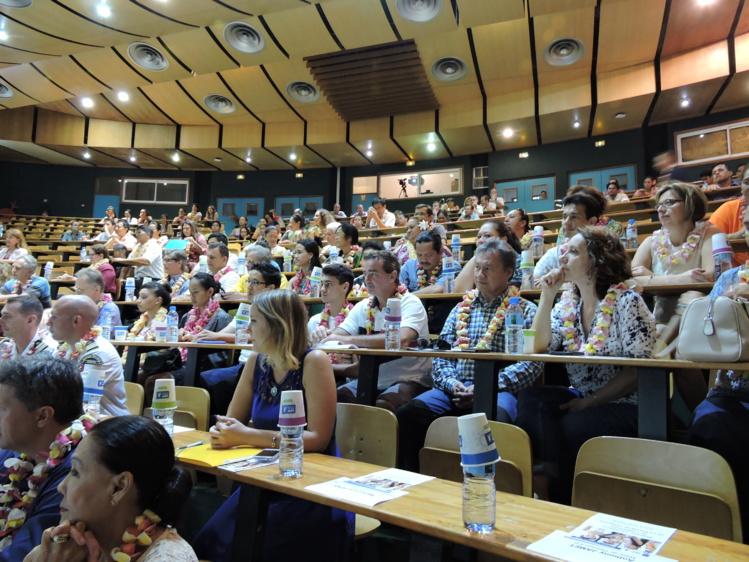 Eric Conte a prononcé son discours devant les représentants de l'État et du gouvernement mais aussi les étudiants.