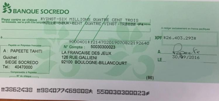 Le gagnant de l'Euromillions a reçu son chèque, il avait validé sa grille à Papenoo