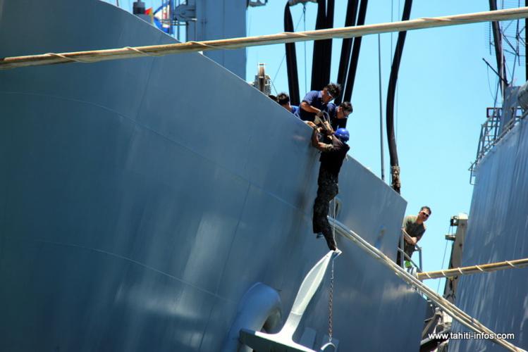 Le marin, suspendu de longues secondes dans le vide, en a été quitte pour une belle frayeur ce dimanche.