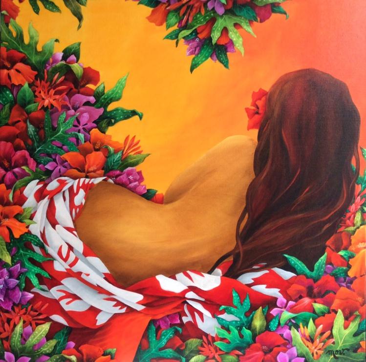 Les vahine sont toujours omniprésentes dans les acryliques sur toile de Mov.