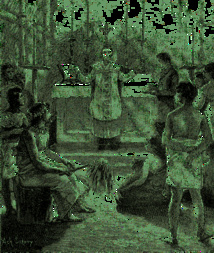 Cette gravure ancienne est intéressante, car elle montre le roi Niuliki, au premier rang, un chasse-mouche dans la main, assistant, par curiosité à une messe dite par Pierre Chanel. Le souverain, au début, n'était pas hostile aux missionnaires.
