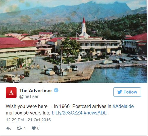 Expédiée depuis Tahiti en 1966, une carte postale arrive en Australie 50 ans après