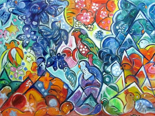 La moitié de la vente de cette grande toile, mettant en scène le 'Ura, une perruche endémique de Polynésie, sera reversée à l'association de sauvegarde Rima'ura.