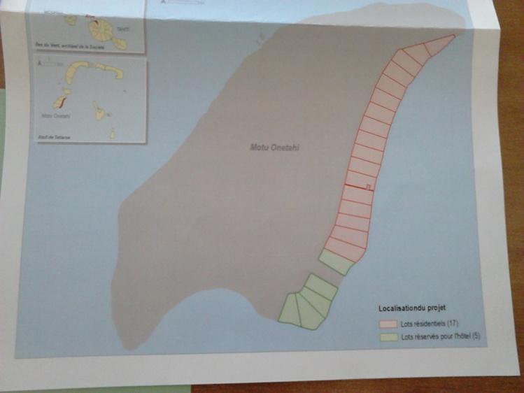 Le projet prévoit des travaux d'aménagement et de viabilisation de 23 lots sur le motu Onetahi.
