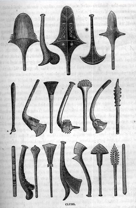 Quelques armes utilisées par les Fidjiens au combat, pour venir à bout de leurs ennemis. But final, leur briser le crâne.