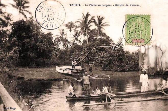 Pèche au harpon à la rivière Vaima en 1908. Photo Bopp