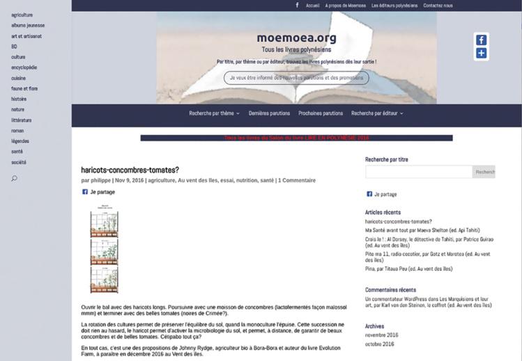 Moemoea, un site qui recense (presque) tous les livres polynésiens
