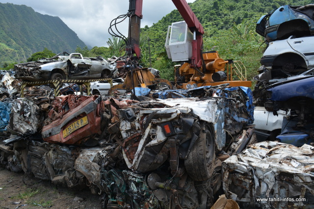Une fois compactées, les carcasses sont mises dans des containers, direction la Nouvelle-Zélande.