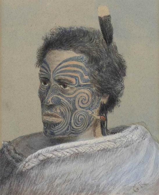 Avant de constituer sa monstrueuse collection, Horatio Gordon Robley avait étudié les tatouages maoris et avait dessiné de nombreux portrais, comme celui-ci.