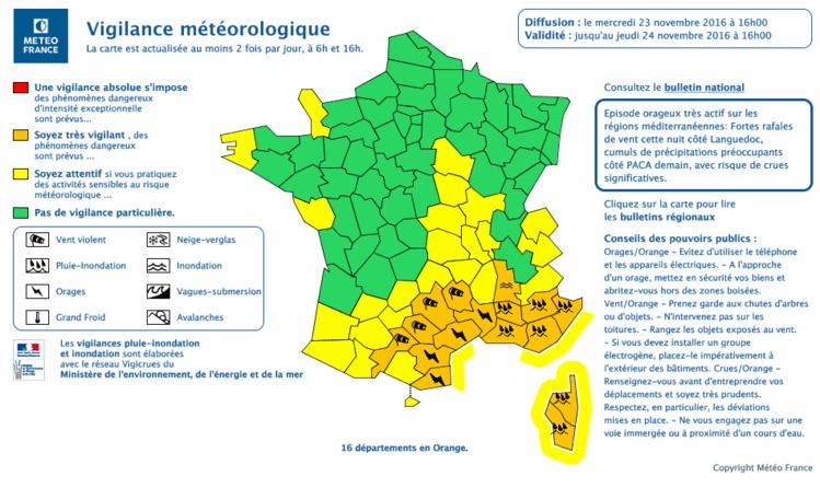 16 départements du sud en vigilance orange pour le vent, les orages ou les inondations