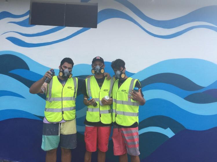 Maxime, Mahiti et Enoha ont travaillé pendant huit jours lors de leur dernier stage.