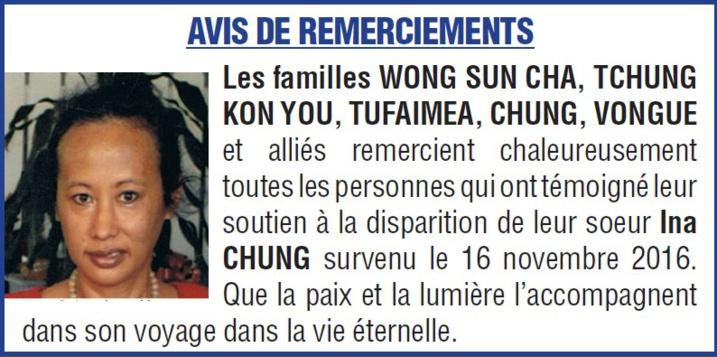Avis de remerciements familles CHUNG, VONGUE