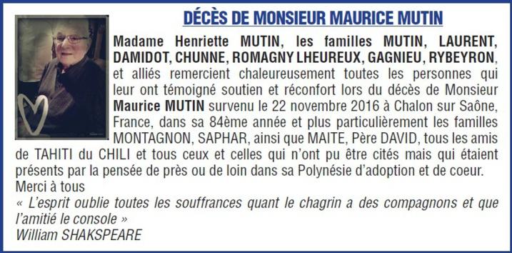 Décès de monsieur Maurice MUTIN