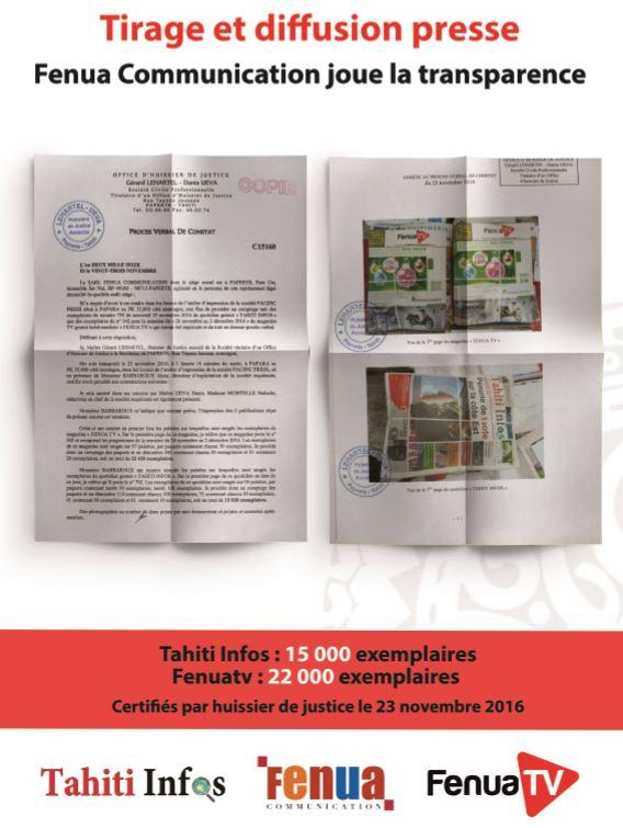 Tirages de la presse: Tahiti Infos et Fenuatv jouent la transparence et lancent un défi
