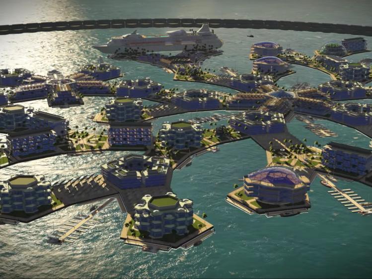 Le projet lauréat distingué par le Steasteading Institute lors d'un concours de conception architecturale de cités flottantes organisée au printemps 2015.