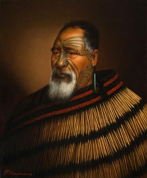 Paora Tuhaere âgé, 1895, huile sur toile, Auckland Art Gallery Toi o Tāmaki, don de Mr. H E Partridge, 1915