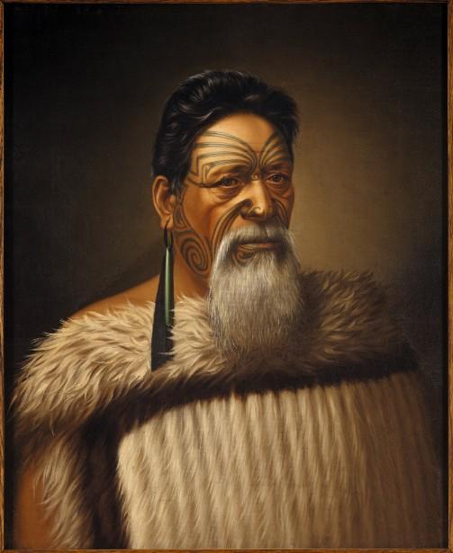 Wi Tako Ngatata, chief of the Ngatiawa tribe in Taranaki, 1880, huile sur toile, 66 × 53,3 cm, Musée New Zealand te PaPa Tongarewa, don d'Alexander Turnbull, 1916
