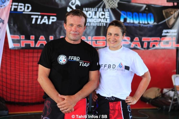 Héloïse Moreau avec l'organisateur Thierry Delhief