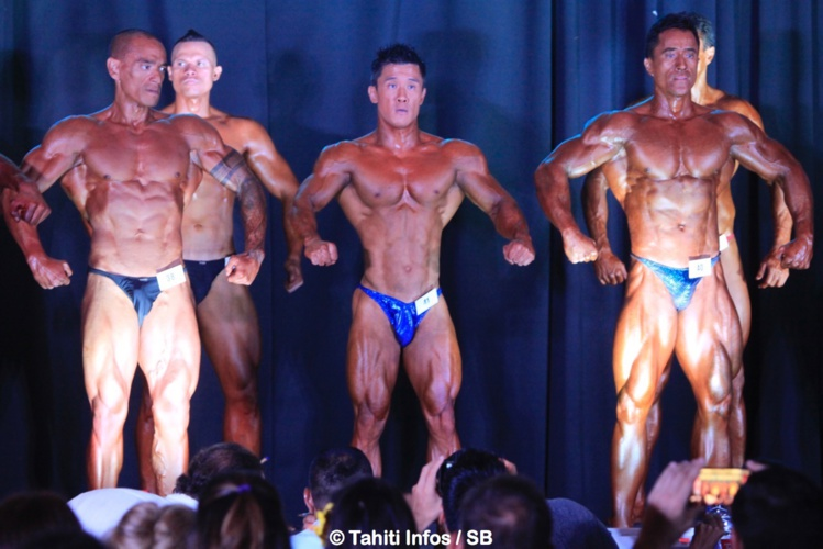 Le podium bodybuilding avec Mataira Teriipaia, Cédric Wong Chou et Stéphane Matke