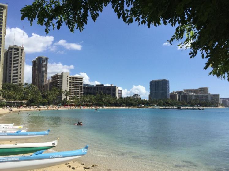 La plage de Waikiki a été très intensément bétonnée, beaucoup trop même, mais cette urbanisation sauvage n'a pas fait fuir les touristes :  8, 3 millions en 2014 à Hawaii…