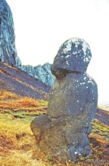 """Tuku Turi, ou Tuturi (littéralement """"à genoux"""") vu de profil : indubitablement, il a une facture polynésienne, marquisienne même. Il repose sur ses deux jambes repliées, ce qui n'est le cas d'aucun moai pascuan."""