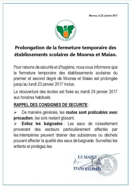 Intempéries:Certaines écoles resteront fermées lundi à Faa'a , Papeete et Moorea