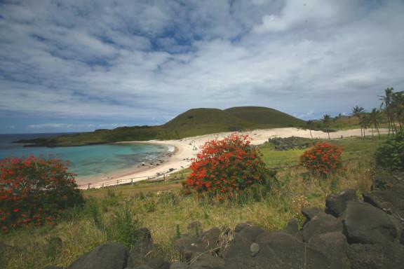 C'est sur cette plage, la plus belle de l'île de Pâques, que le drame s'est joué et que tous les missionnaires accompagnant leur évêque ont fini au four.