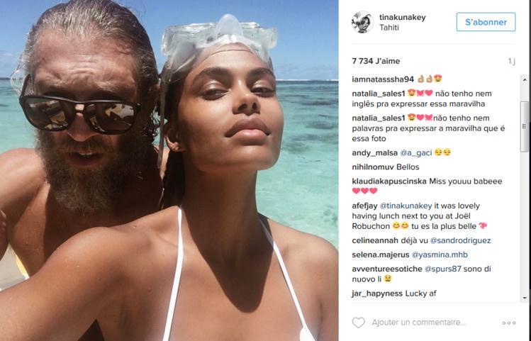 Tina Kunakey, la compagne de Vincent Cassel, publie un souvenir de leur séjour à Tahiti