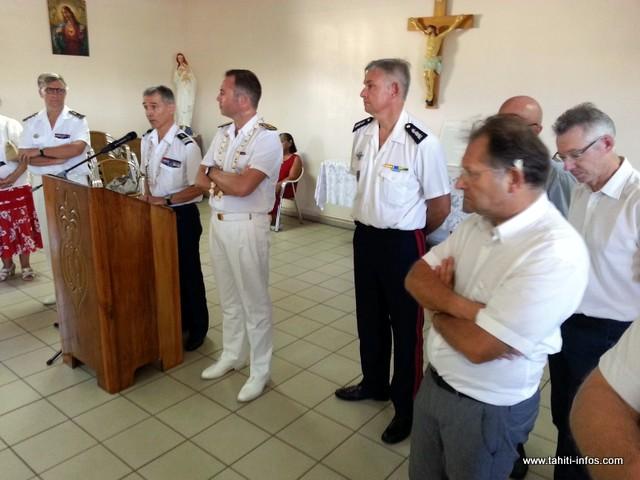 Le colonel Pierre Caudrelier au pupitre pour un discours ancré dans la réalité, vendredi à l'occasion de la célébration de Sainte-Geneviève, patronne des gendarmes.