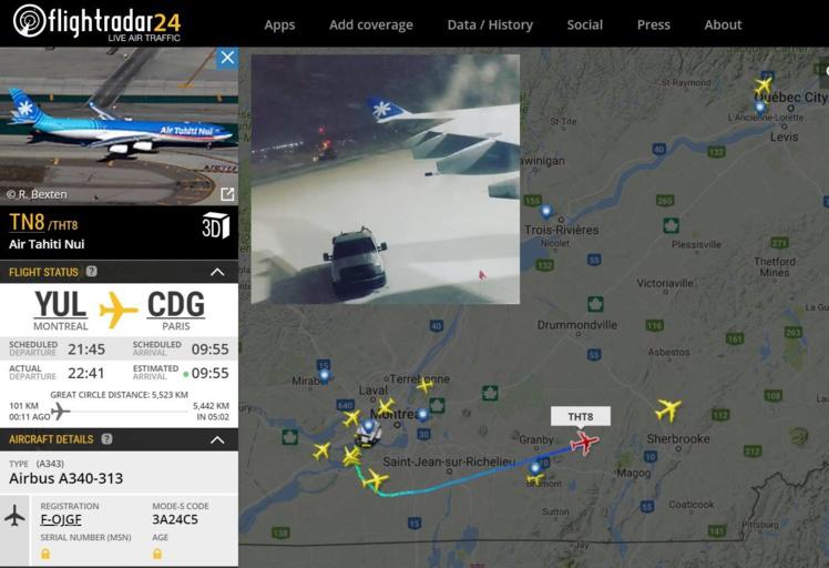 Photo : capture d'écran Flightradar avec incrustation photo de jeffourson sur Instagram.