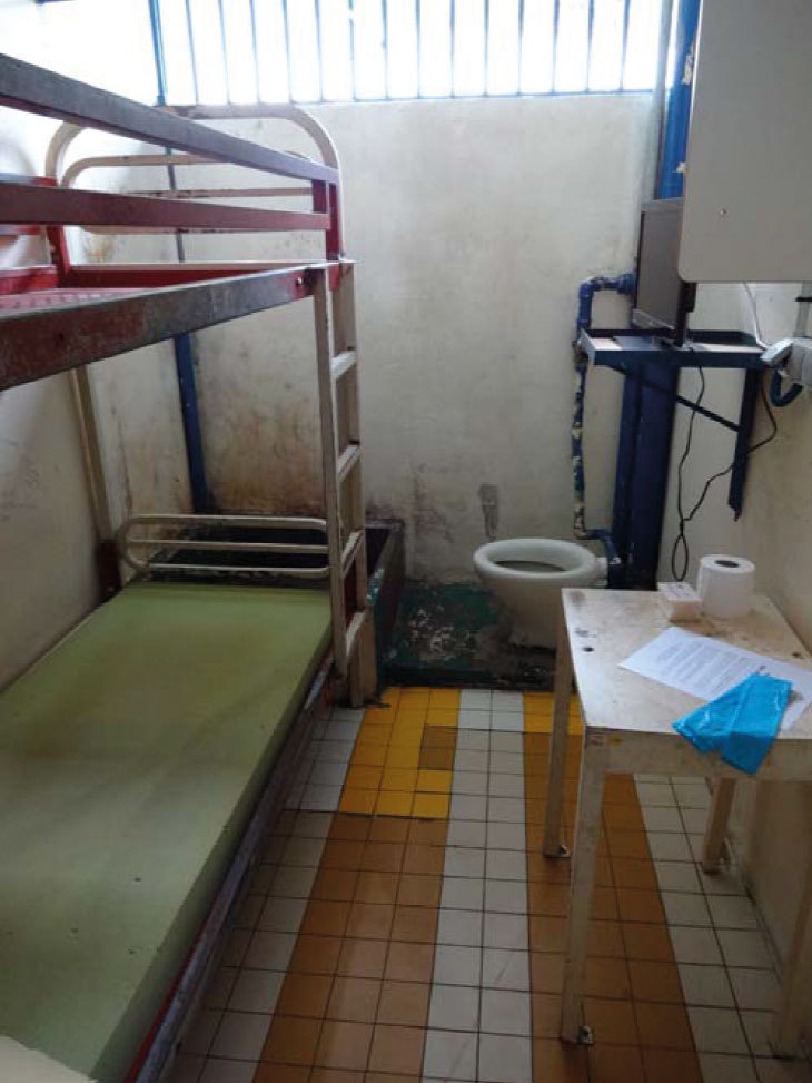 Une des cellules de la prison de Nuutania, avant rénovation.