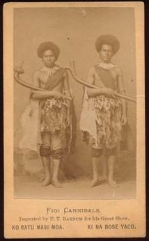 """En 1872 et 1873, le cirque américain Barnum avait """"importé"""" des îles Fidji deux indigènes présentés comme anthropophages, afin de faire frémir les foules de l'époque."""