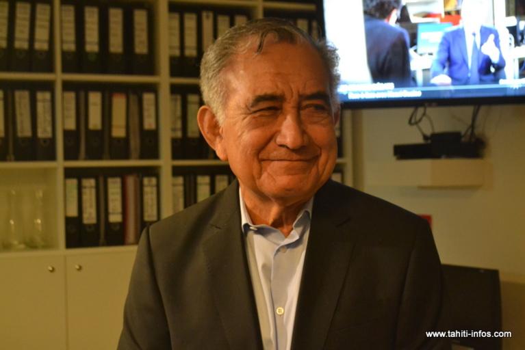 Oscar Temaru, mercredi à Paris, peu avant le lancement du magazine politique Mediapart Live.