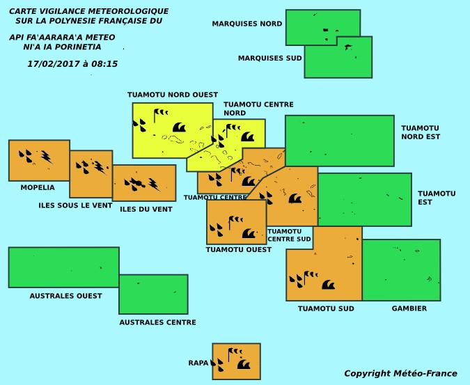 La Société et l'Ouest des Tuamotu en vigilance orange