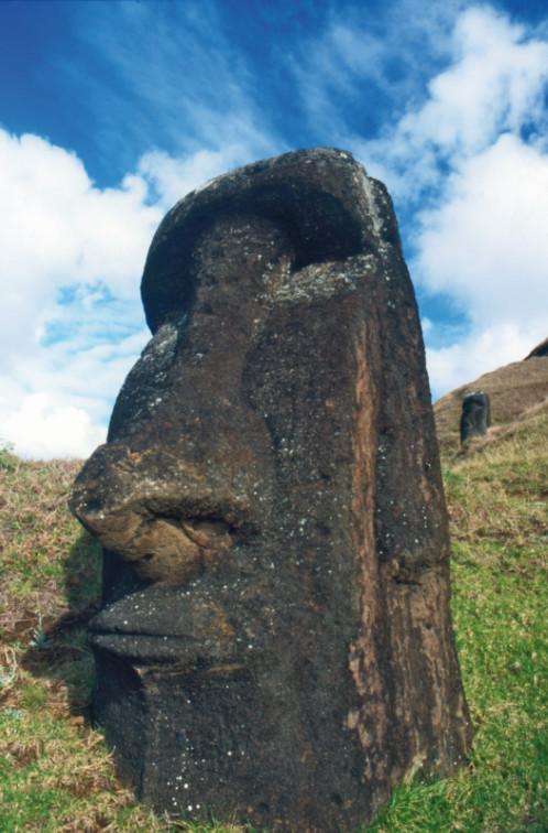 Un moai sculpté à l'intérieur du cratère ; sa mine est boudeuse…