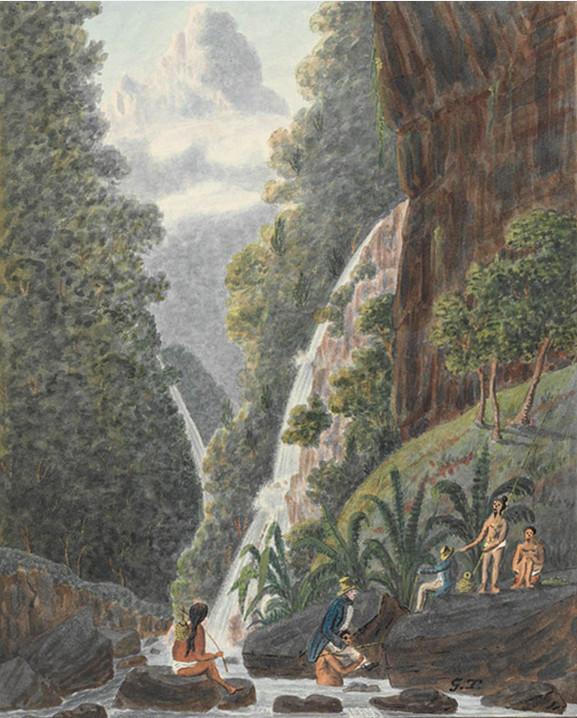 On Matavai River, Island of Otahytey - Le long de la rivière de la Tuauru à Matavai en 1792