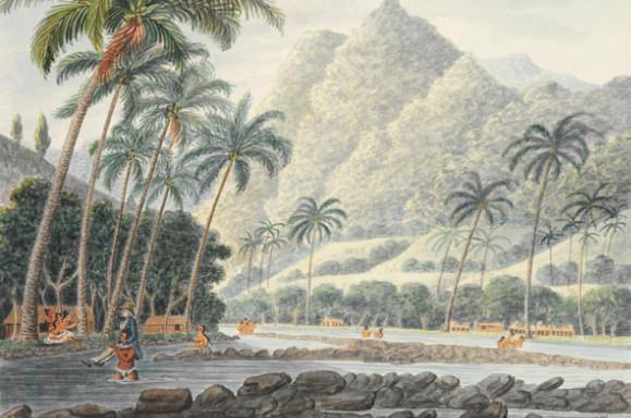 Near the Mouth of Whapiano River - Près de l'embouchure de la rivière de la vallée de Papenoo en 1792 (Whapiano = Hapaianoo, l'ancien nom de Papenoo)